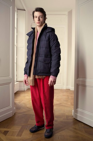 How to wear: dark brown low top sneakers, red corduroy jeans, hot pink crew-neck sweater, navy puffer jacket