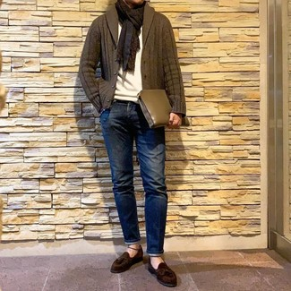 How to wear: dark brown suede tassel loafers, navy jeans, white crew-neck sweater, olive shawl cardigan