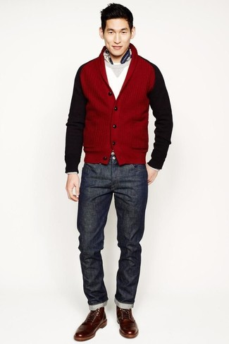 How to wear: brown leather casual boots, charcoal jeans, white crew-neck sweater, red shawl cardigan