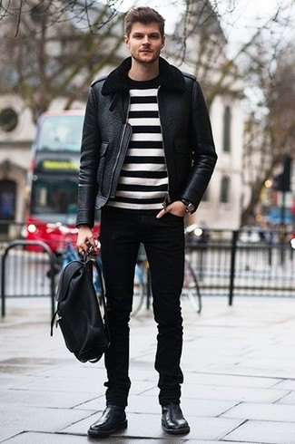 How to Wear a Black Leather Backpack For Men: A black shearling jacket and a black leather backpack are a nice look to incorporate into your off-duty routine. Why not take a classic approach with footwear and complete your ensemble with a pair of black leather chelsea boots?