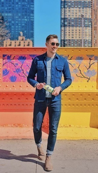 How to Wear Tan Suede Chelsea Boots For Men: Try pairing a blue shirt jacket with navy jeans to achieve a really dapper and current casual outfit. Tan suede chelsea boots will bring an added dose of refinement to an otherwise simple outfit.