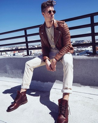 How to wear: brown leather casual boots, beige jeans, beige crew-neck t-shirt, brown leather biker jacket