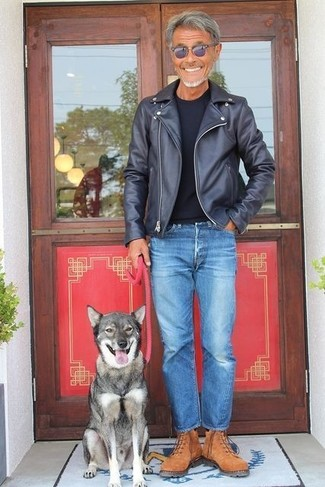 How to wear: brown suede work boots, blue jeans, black crew-neck t-shirt, black leather biker jacket