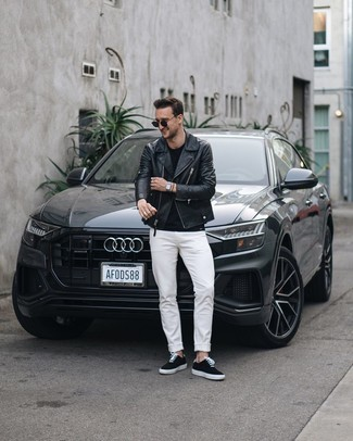 How to wear: black canvas low top sneakers, white jeans, black crew-neck t-shirt, black leather biker jacket