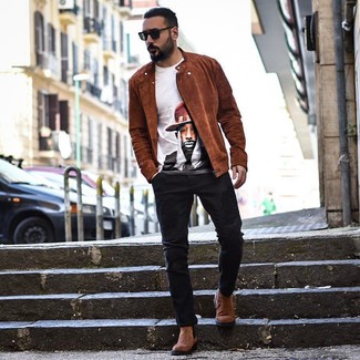How to wear: brown suede chelsea boots, black jeans, white print crew-neck t-shirt, tobacco suede biker jacket