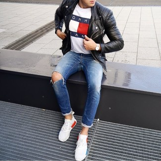 How to wear: white athletic shoes, blue ripped jeans, white print crew-neck t-shirt, black leather biker jacket