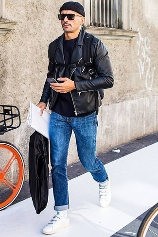 How to Wear a Navy Crew-neck T-shirt For Men: For comfort without the need to sacrifice on style, we turn to this combination of a navy crew-neck t-shirt and blue jeans. If you're wondering how to finish off, a pair of white leather low top sneakers is a foolproof option.