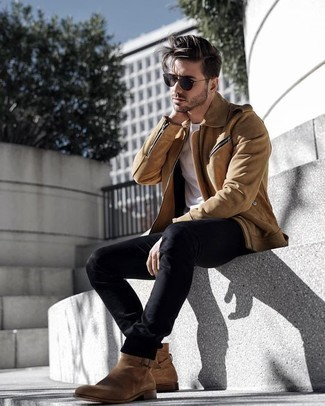 How to Wear Charcoal Sunglasses For Men: This combination of a tan suede biker jacket and charcoal sunglasses is on the casual side but is also on-trend and seriously dapper. Wondering how to finish this look? Wear tan suede chelsea boots to turn up the wow factor.