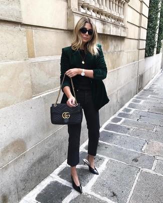 How to wear: black leather pumps, black jeans, black crew-neck t-shirt, dark green velvet blazer