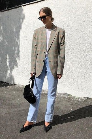 How to wear: black suede pumps, light blue jeans, white crew-neck t-shirt, grey plaid blazer