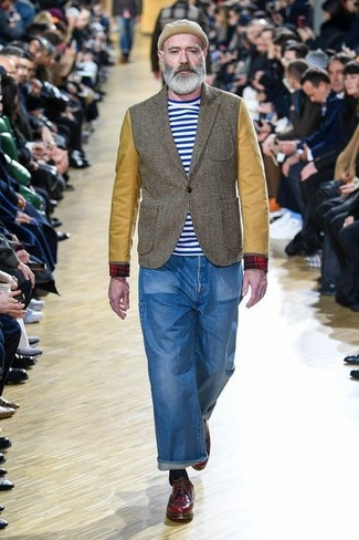 How to wear: burgundy leather derby shoes, blue jeans, white and blue horizontal striped crew-neck t-shirt, olive blazer