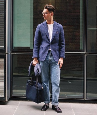 How to wear: burgundy leather loafers, light blue jeans, white crew-neck t-shirt, navy plaid wool blazer