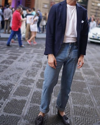How to wear: black leather tassel loafers, light blue jeans, white crew-neck t-shirt, navy blazer