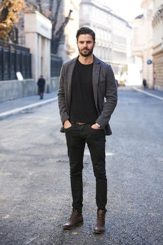 How to Wear Dark Brown Leather Casual Boots For Men: This pairing of a charcoal wool blazer and black jeans is certainly jaw-dropping, but it's extremely easy to pull together. A pair of dark brown leather casual boots can integrate brilliantly within plenty of combos.