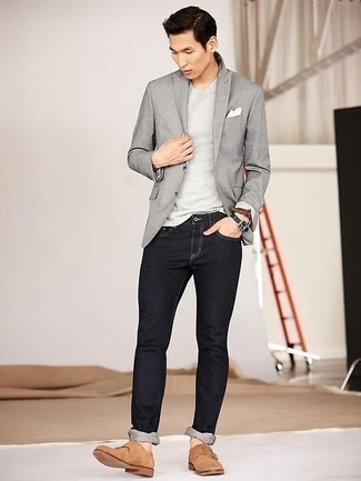 Men's Looks & Outfits: What To Wear In 2020: A grey blazer and black jeans will add serious style to your daily repertoire. Finishing with a pair of tan suede double monks is the most effective way to bring an air of sophistication to your getup.
