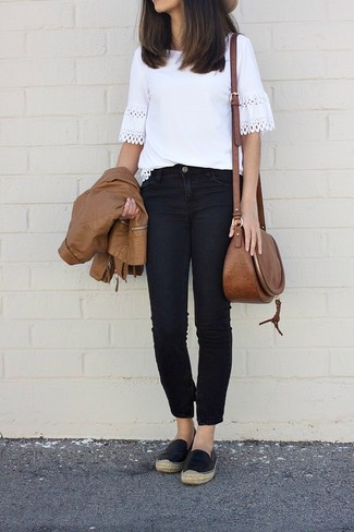 How to wear: black leather espadrilles, black jeans, white crochet crew-neck t-shirt, brown leather bomber jacket