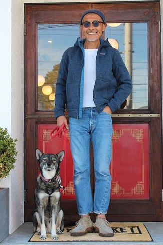 How to wear: beige suede desert boots, blue jeans, white crew-neck t-shirt, navy wool bomber jacket