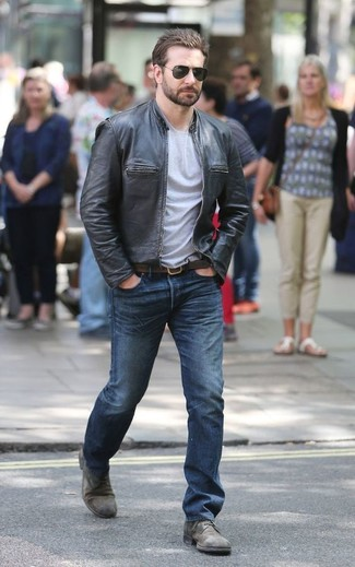 How to wear: grey leather derby shoes, blue jeans, grey crew-neck t-shirt, black leather bomber jacket