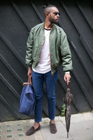 How to wear: dark brown suede loafers, blue jeans, white crew-neck t-shirt, olive bomber jacket