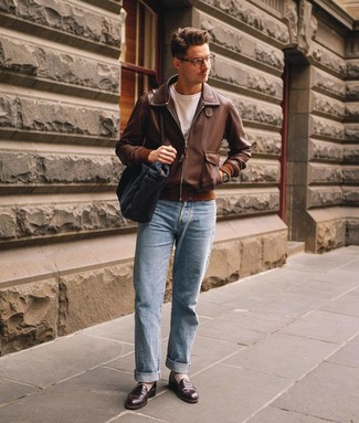 How to wear: dark brown leather loafers, light blue jeans, white crew-neck t-shirt, brown leather bomber jacket