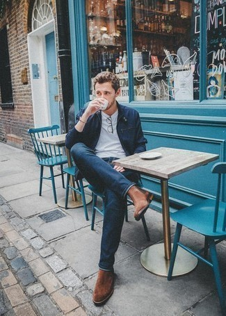 How to Wear Brown Suede Chelsea Boots For Men: This pairing of a navy bomber jacket and navy jeans looks put together and makes any man look infinitely cooler. For a smarter touch, why not add brown suede chelsea boots to the mix?