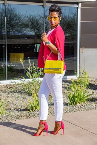 How to Wear White Jeans For Women: Pair a hot pink cape blazer with white jeans to feel confident and look chic. Hesitant about how to round off? Add hot pink leather heeled sandals to your outfit to turn up the chic factor.