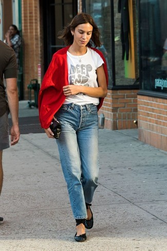 How to wear: black leather ballerina shoes, blue jeans, white print crew-neck t-shirt, red cardigan