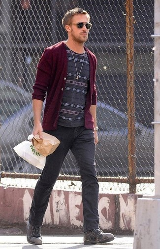 How to wear: charcoal leather casual boots, charcoal jeans, charcoal print crew-neck t-shirt, burgundy cardigan
