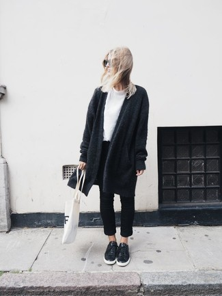 How to wear: black leather low top sneakers, black jeans, white crew-neck t-shirt, charcoal knit coat
