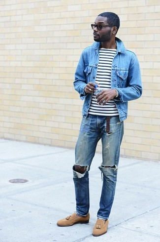 How to wear: tan suede tassel loafers, blue ripped jeans, white and black horizontal striped crew-neck t-shirt, light blue denim jacket