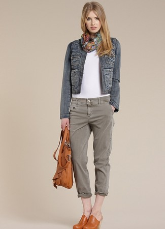 How to wear: tobacco leather mules, grey jeans, white crew-neck t-shirt, navy denim jacket