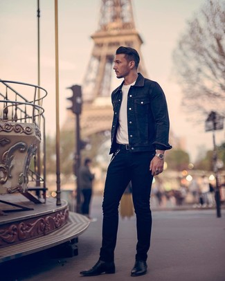 How to wear: black leather chelsea boots, black jeans, white crew-neck t-shirt, black denim jacket