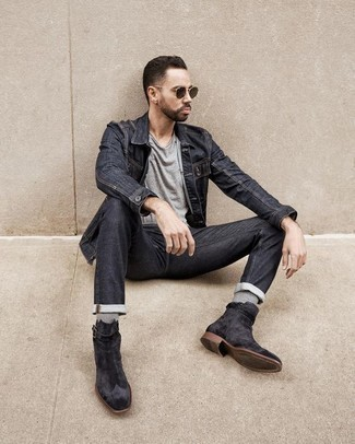 How to Wear Charcoal Jeans For Men: A charcoal denim jacket and charcoal jeans are an easy way to introduce effortless cool into your day-to-day casual fashion mix. Finishing off with charcoal suede chelsea boots is an effortless way to add a bit of classiness to this ensemble.