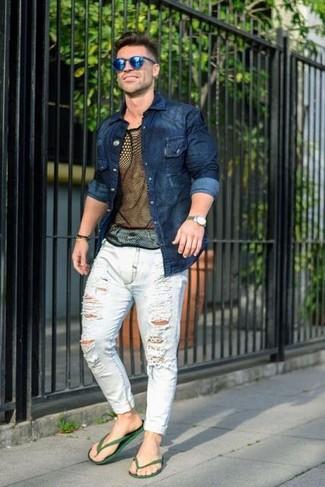 How to wear: dark green rubber sandals, white ripped jeans, black mesh crew-neck t-shirt, navy denim shirt