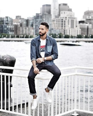 How to Wear Charcoal Jeans For Men: You'll be amazed at how easy it is for any gent to put together this casual look. Just a navy denim shirt and charcoal jeans. Add a pair of white canvas low top sneakers to the equation for extra fashion points.