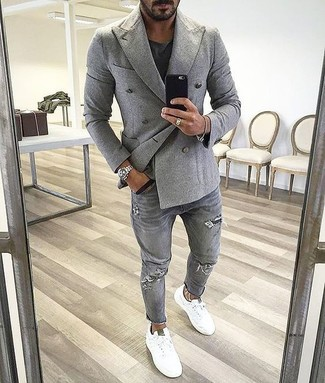 How to wear: white low top sneakers, grey ripped jeans, black crew-neck t-shirt, grey double breasted blazer