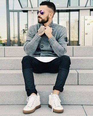 How to Wear Violet Sunglasses For Men: You're looking at the hard proof that a grey double breasted cardigan and violet sunglasses are amazing when combined together in an urban look. White canvas high top sneakers pull the look together.