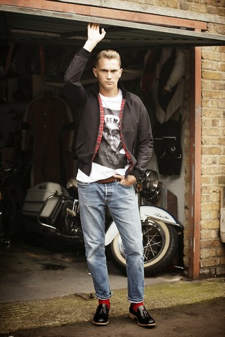 Men's Black Leather Tassel Loafers, Light Blue Jeans, White and Black Print Crew-neck T-shirt, Black Harrington Jacket