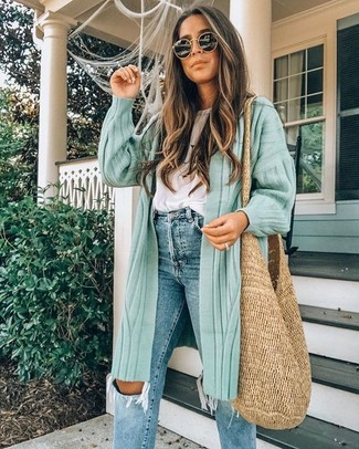 How to wear: tan straw tote bag, blue ripped jeans, white crew-neck t-shirt, mint long cardigan