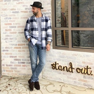 How to wear: dark brown suede loafers, light blue jeans, grey crew-neck t-shirt, black and white plaid flannel long sleeve shirt