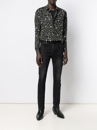 How to wear: black leather chelsea boots, black jeans, black crew-neck t-shirt, black and white star print long sleeve shirt