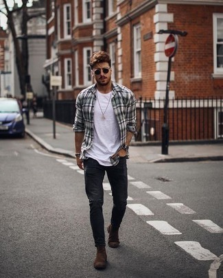 How to Wear Dark Brown Suede Chelsea Boots For Men: One of the coolest ways for a man to style out a grey plaid long sleeve shirt is to team it with charcoal ripped jeans in a casual getup. Dark brown suede chelsea boots will infuse an added touch of sophistication into an otherwise everyday getup.