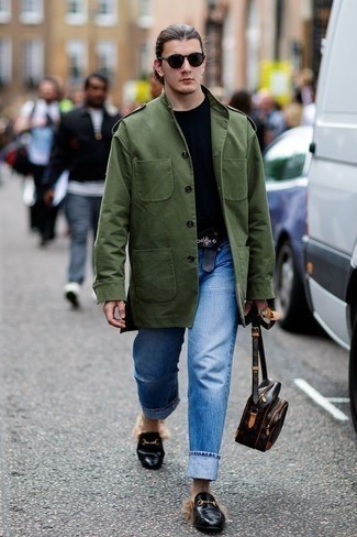 How to Wear Black Leather Loafers For Men: For comfort dressing with a fashionable spin, try pairing an olive military jacket with blue jeans. A pair of black leather loafers effortlessly amps up the classy factor of any look.