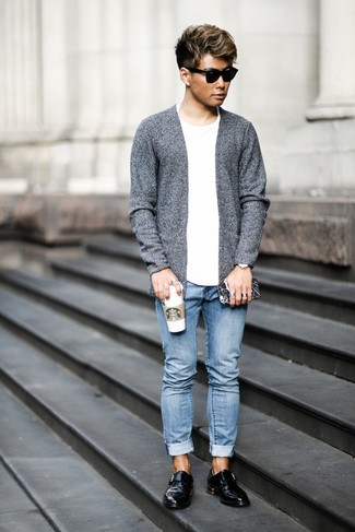 How to wear: black leather monks, light blue jeans, white crew-neck t-shirt, grey open cardigan