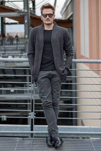 How to Wear Black Leather Derby Shoes: A charcoal open cardigan and grey jeans are great menswear staples that will integrate well within your off-duty rotation. If you want to immediately lift up this outfit with footwear, add black leather derby shoes to your ensemble.