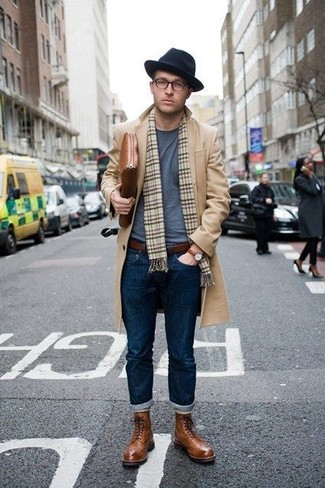 How to wear: brown leather brogue boots, navy jeans, grey crew-neck t-shirt, camel overcoat