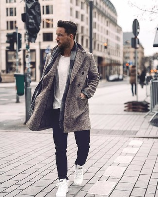 How to wear: white high top sneakers, black jeans, white crew-neck t-shirt, grey check overcoat