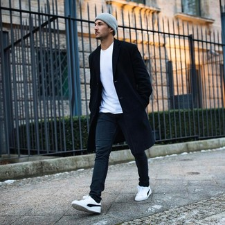 How to wear: white and black low top sneakers, black jeans, white crew-neck t-shirt, black overcoat