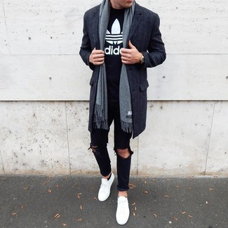 How to Wear Black No Show Socks For Men: This combination of a charcoal overcoat and black no show socks combines comfort and casual cool. Add a pair of white low top sneakers to the mix et voila, your look is complete.