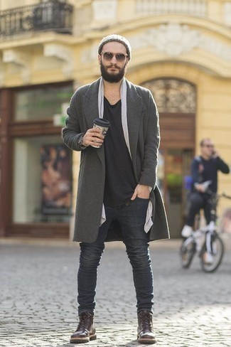 How to Wear Charcoal Sunglasses For Men: This combo of a grey overcoat and charcoal sunglasses is ridiculously dapper and yet it looks casual and apt for anything. Get a bit experimental with footwear and complete your ensemble with dark brown leather casual boots.
